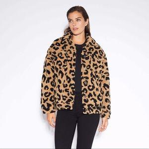 NWT Bagatelle Sherpa Teddy Zip Coat Leopard Print